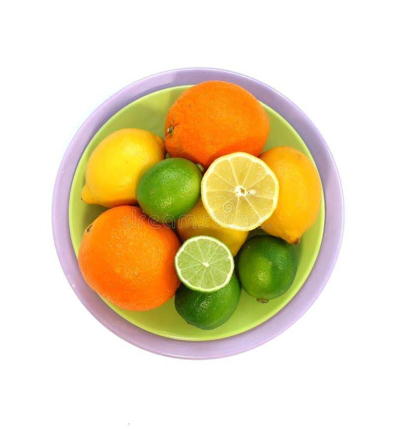 Fruit frais de la plaque d'isolement sur le blanc photos libres de droits