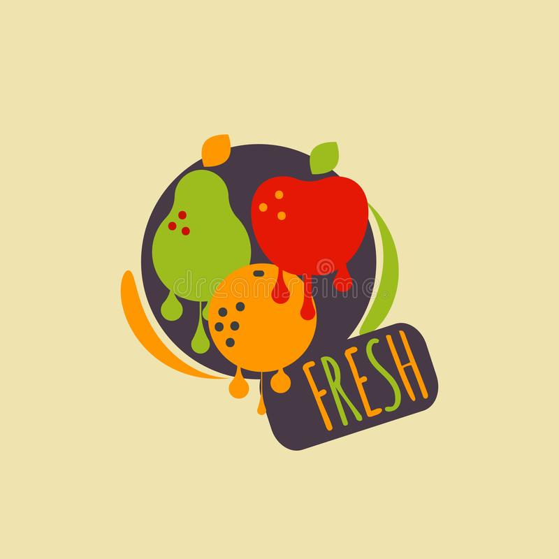 Fruit frais de label illustration de vecteur