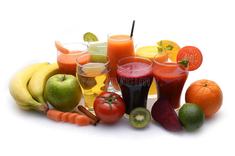Fruit frais et jus de légumes photographie stock