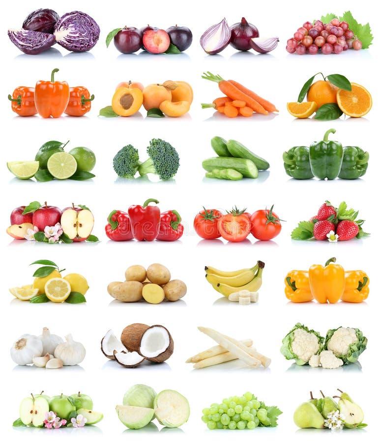 Fruit frais orange de couleurs de banane de raisins de chou de pomme d'isolement par collection de fruits et légumes image libre de droits