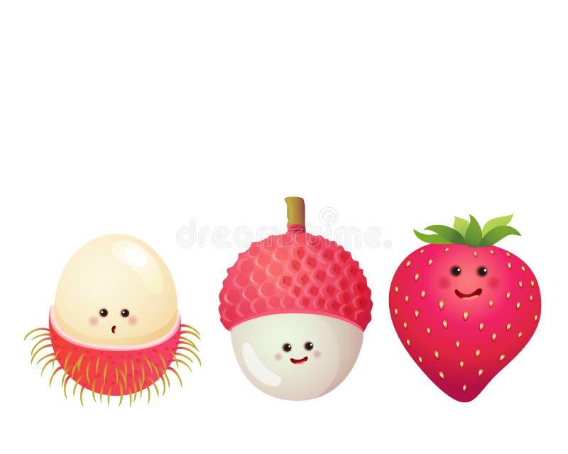 Fruit-fraise mignonne, litchi, litchi, ramboutan illustration libre de droits