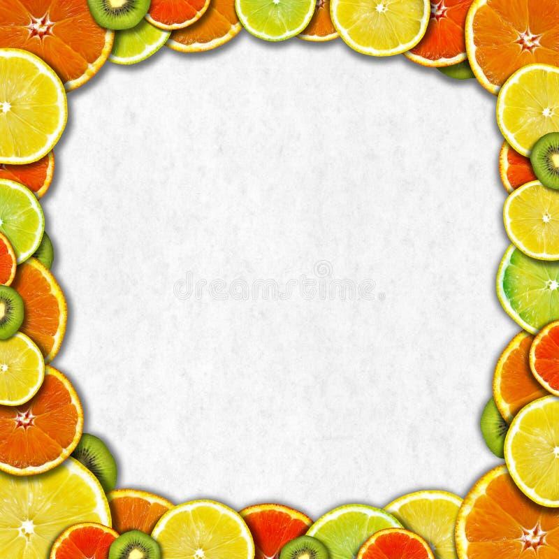 Fruit Frame. Frame of oranges, lemons and kiwi on a gray paper background stock illustration