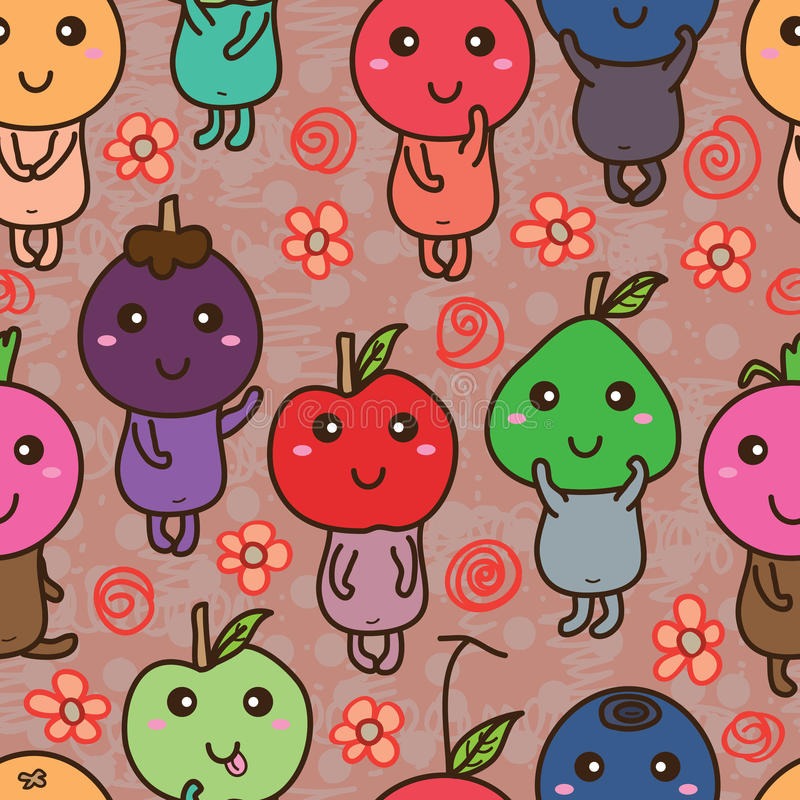 Fruit friend seamless pattern. Illustration design fruit mascot friends flower orange color decor background graphic seamless pattern texture stock illustration