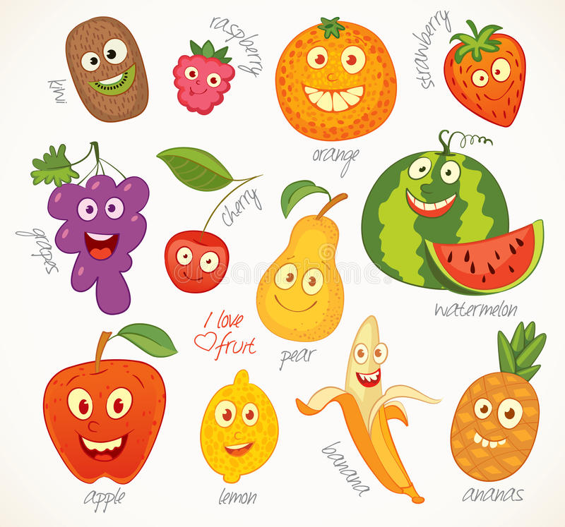 Fruit. Funny cartoon character. I love fruit. Funny cartoon character. Vector illustration. Isolated on white background. Set vector illustration