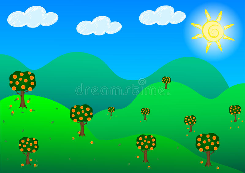 Download Fruit Garden Hills In Sunshine Day. Stock Vector - Image: 19197101