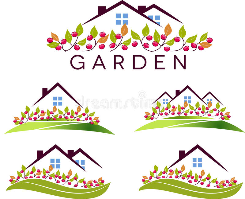 Fruit garden and house stock illustration