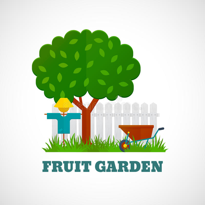 Fruit Garden Poster. With tree scarecrow wheelbarrow on the lawn and fence vector illustration stock illustration