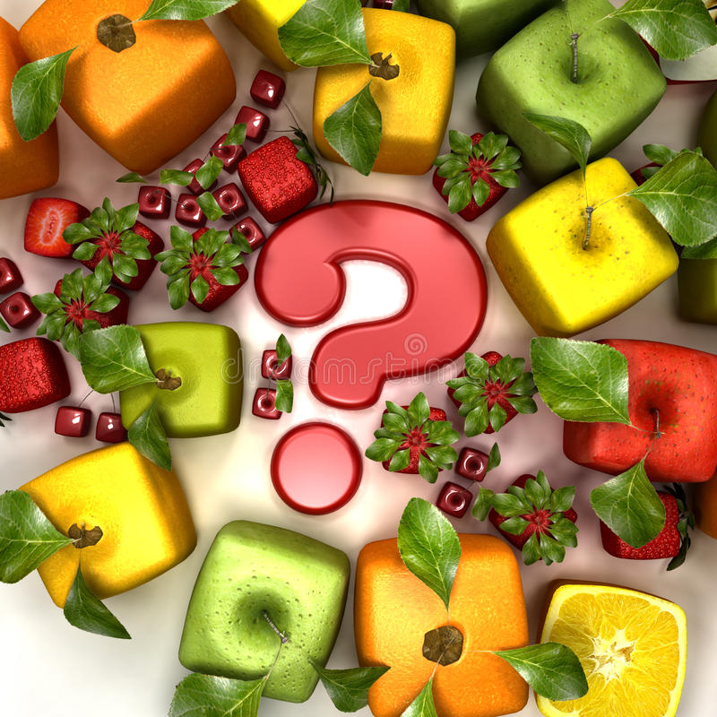 Fruit genetic manipulation. 3D rendering of a selection of cubic fruits surrounding a question mark stock illustration