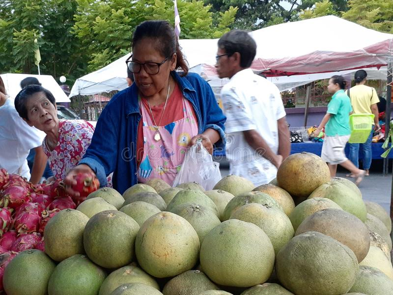 Pomelo at the market in Bangkok. stock photo
