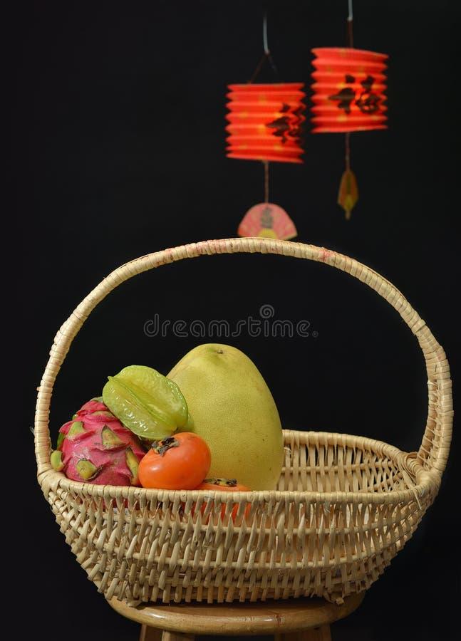 Fruit hamper Chinese Lantern. T basket hamper Chinese lantern festival stock images