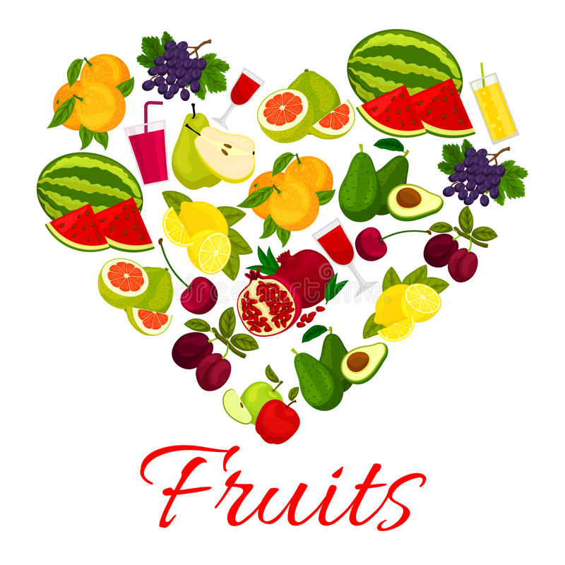 Fruit heart icon with fresh fruits icons vector illustration