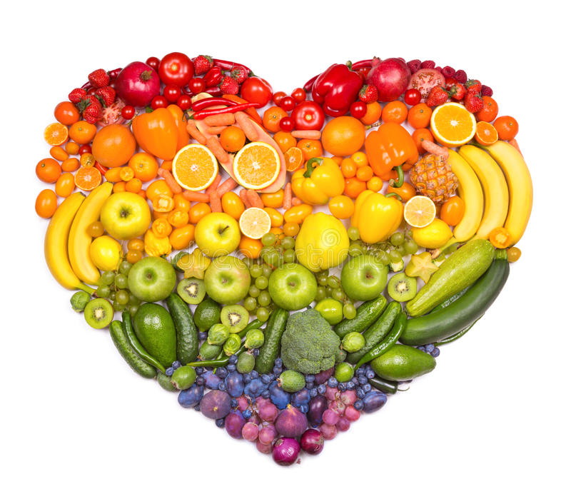 Fruit heart. Rainbow heart of fruits and vegetables