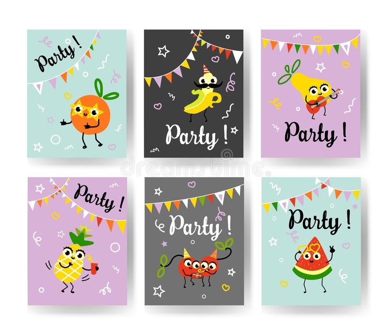 Fruit holiday party banners set with different ripe fruits and berries dancing, drinking cocktails and having fun. royalty free illustration