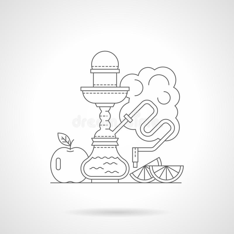 Fruit hookah detailed line illustration vector illustration