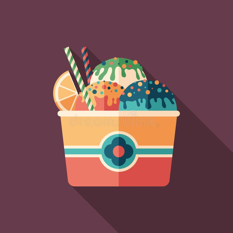 Fruit ice cream flat square icon with long shadows. vector illustration