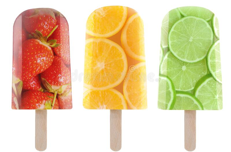 Fruit ice lollies, popsicles stock photos