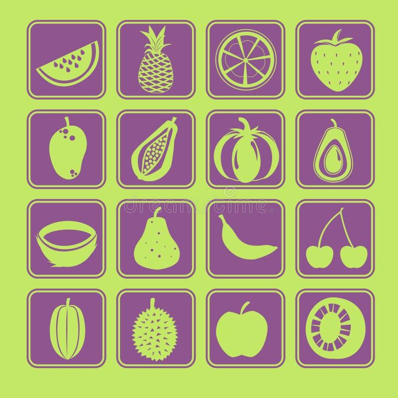 Fruit Icon Set Stock Vector