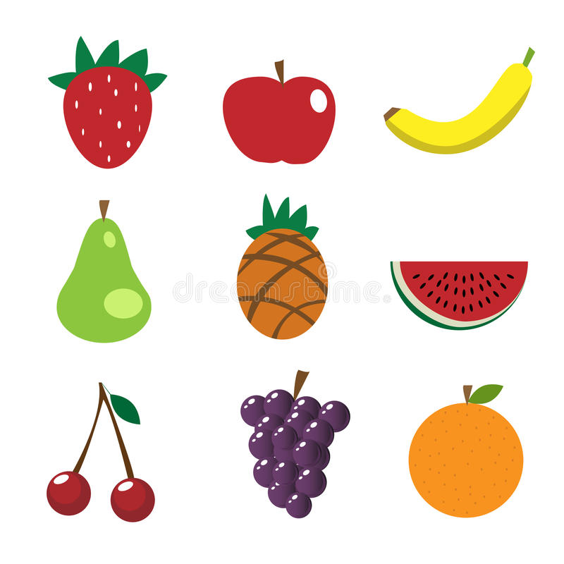 Fruit icons royalty free illustration