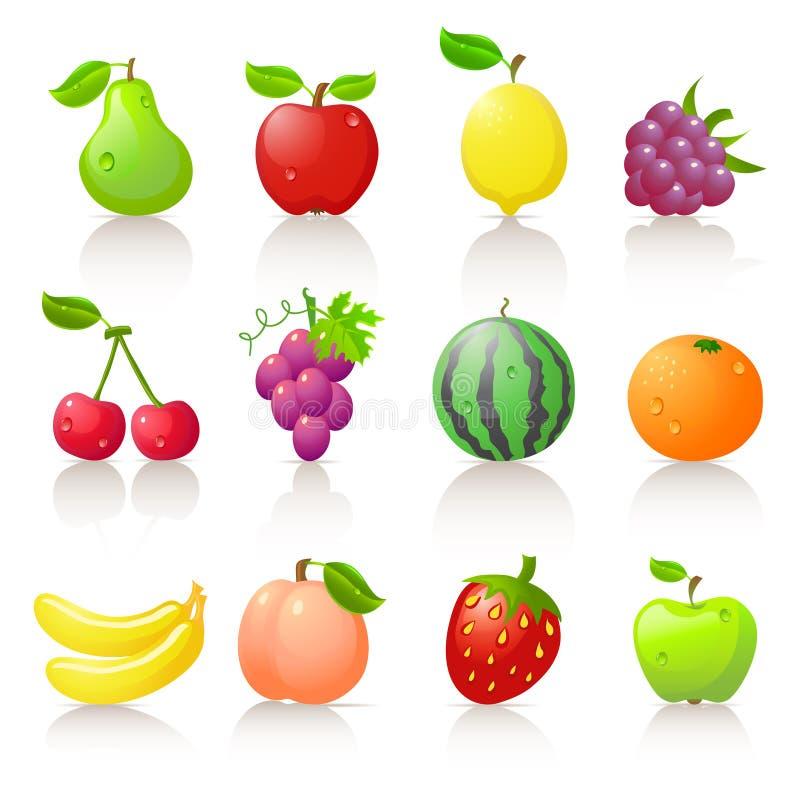 Fruit icons. Set of 12 fruit icons royalty free illustration
