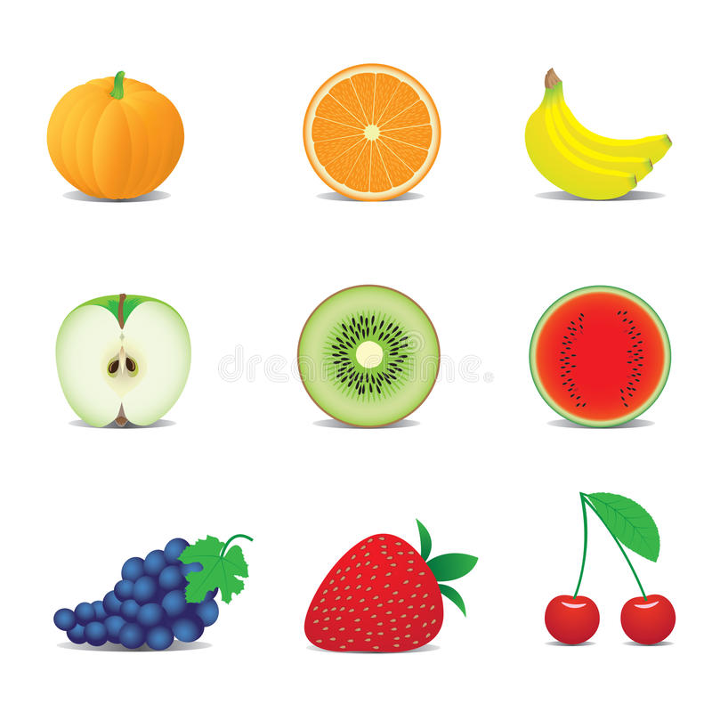Download Fruit icons stock vector. Illustration of objects, group - 16080563