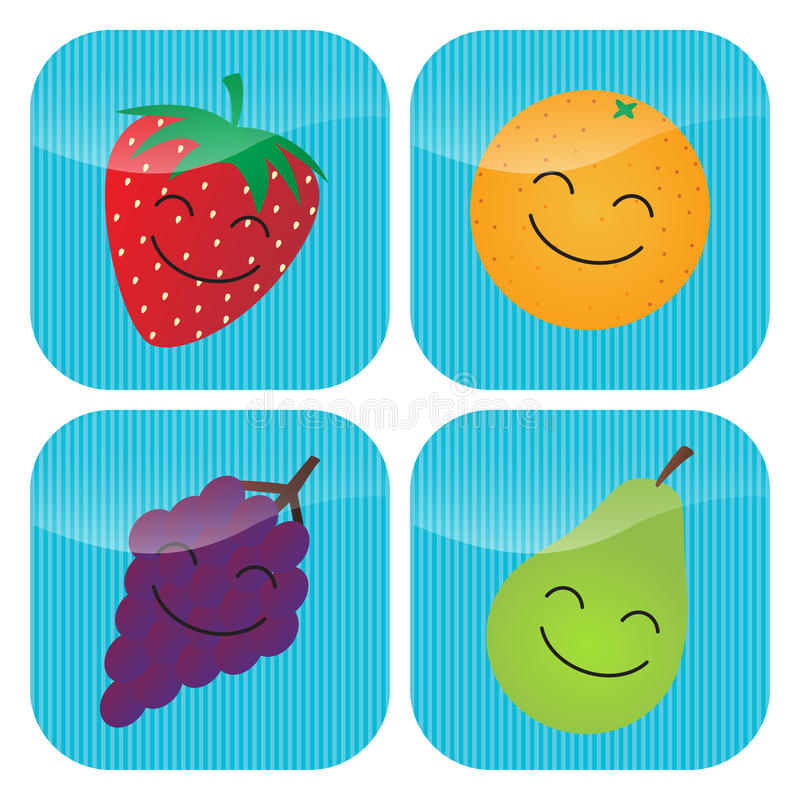 Download Fruit Icons stock vector. Image of cartoon, cheerful - 25188353