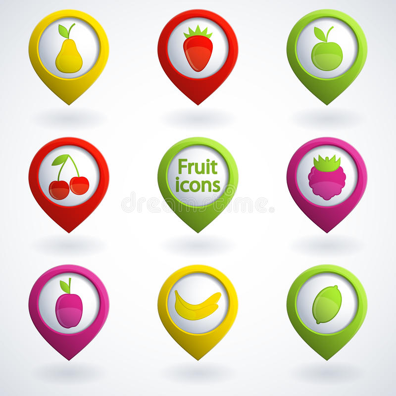 Download Fruit icons stock vector. Image of pear, collection, strawberry - 26735497