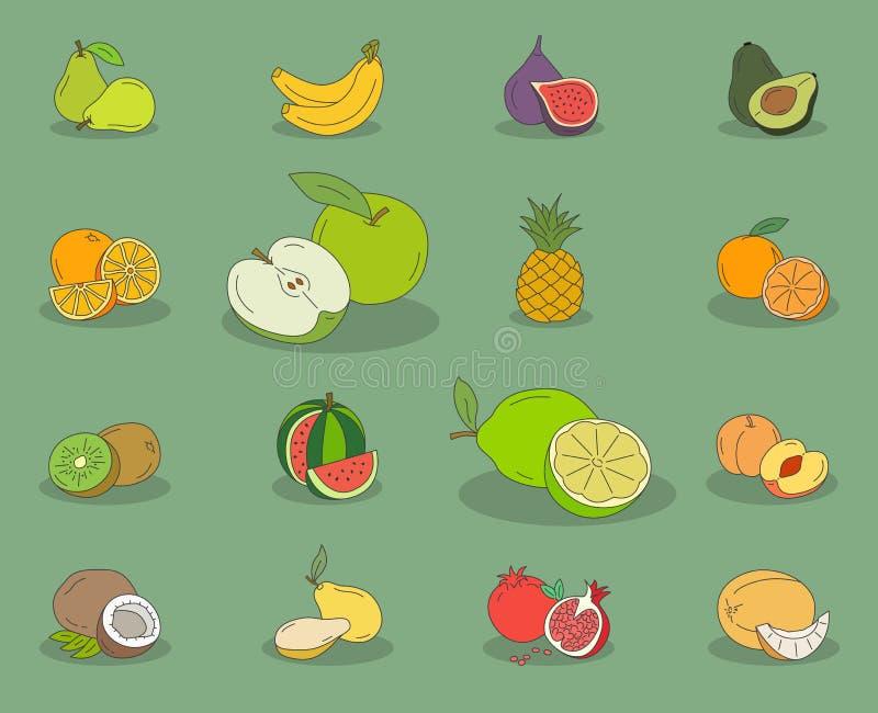 Fruit-icons-set-03 vector illustration