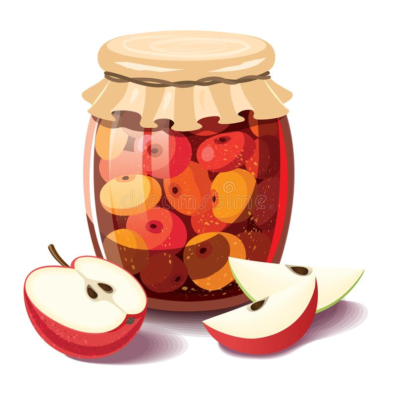 Fruit jam glass jar vector drawing. Jelly and marmalade with apple royalty free illustration