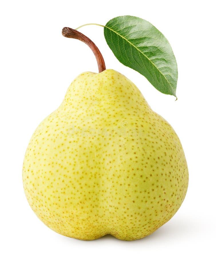 Fruit jaune de poire avec la feuille d'isolement sur le blanc photographie stock libre de droits