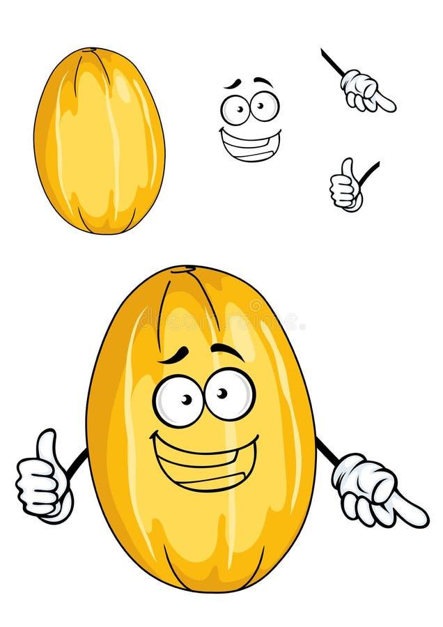 Fruit jaune mûr heureux de melon illustration libre de droits