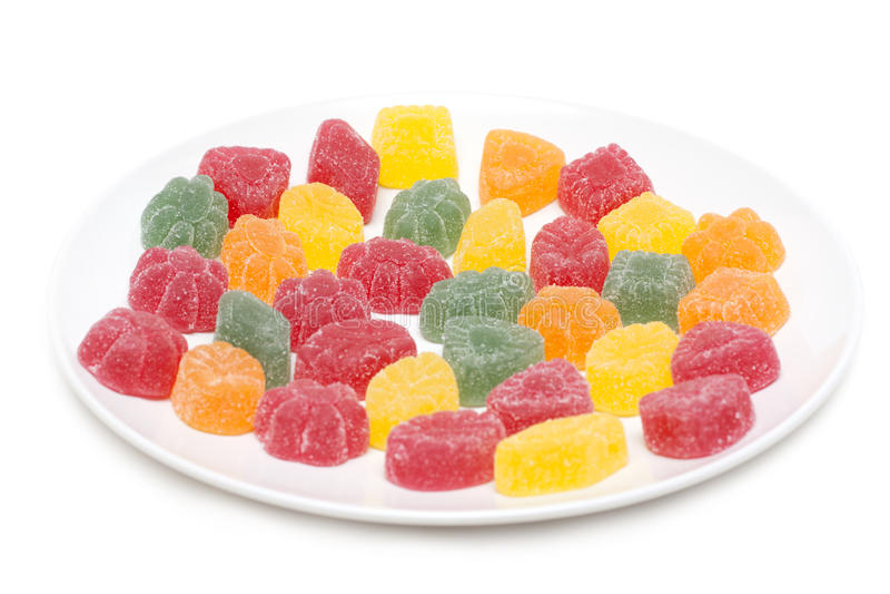 Fruit jellies on plate stock photo