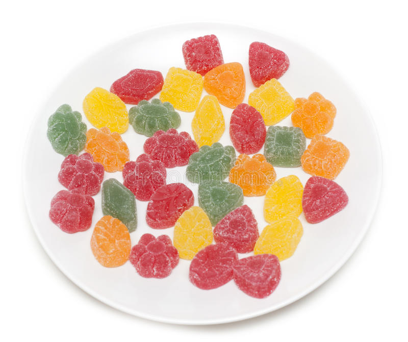 Fruit jellies on plate stock photos