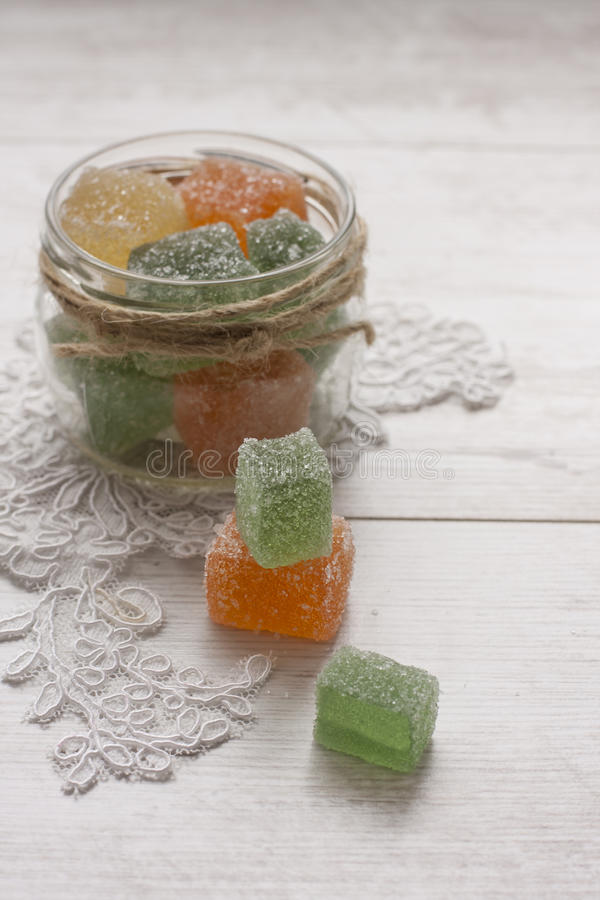 Fruit Jelly Candies In Decorated Glass Jar Stock Photo