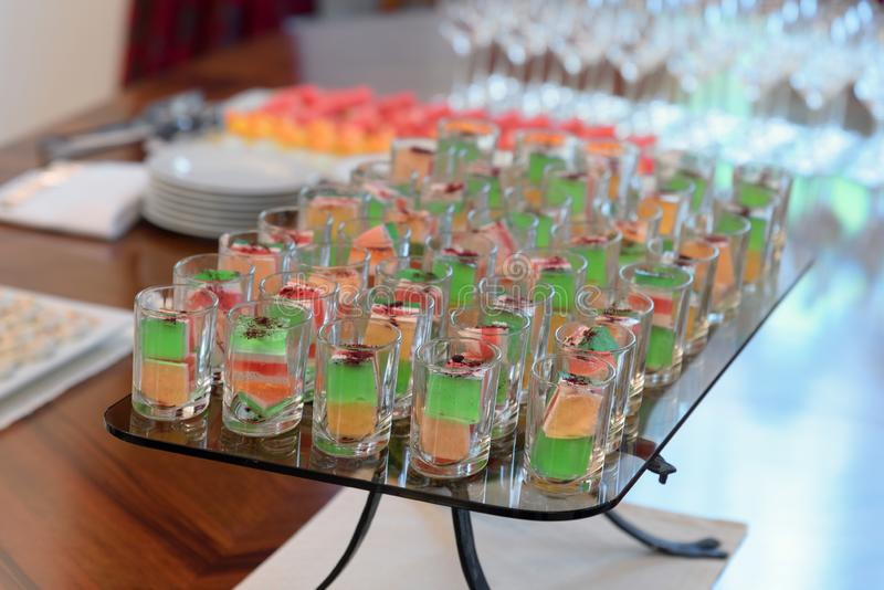 Fruit jelly dessert, catering food, self service buffet stock photo