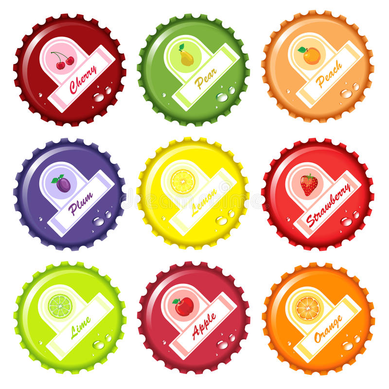 Fruit juice bottle caps. With paper labels royalty free illustration