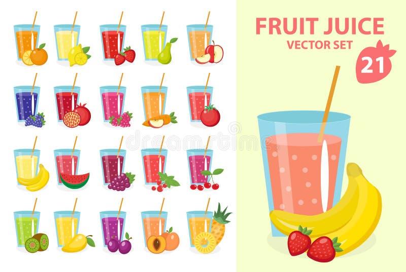 Fruit juice in glass, vector illustration set. Fresh juices icon. royalty free illustration