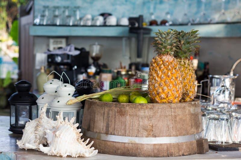 Fruit juice raw material pineapple and lemon royalty free stock photos