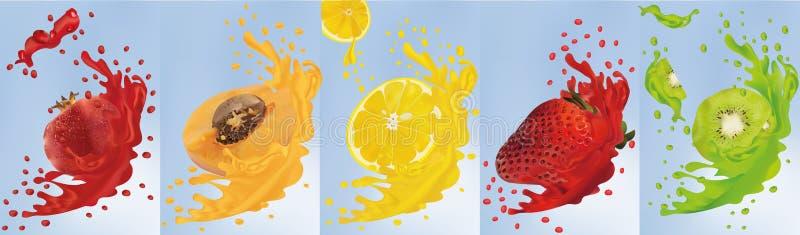 Fruit juice. Realistic fruits kiwi, apricot, pomegranate, lemon, strawberry. 3d vector illustration. Set splashes with royalty free illustration