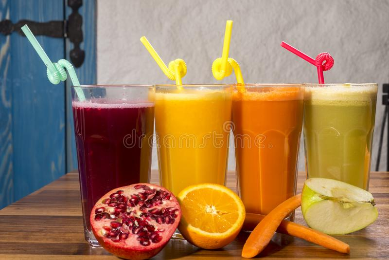 Fruit juice varieties; vitamin store. Food concept photo.  royalty free stock image