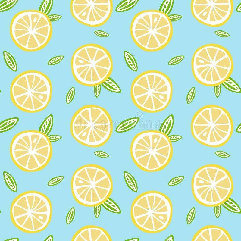 Fruit lemon with green leaves on a light blue background pattern. Seamless vector vector illustration