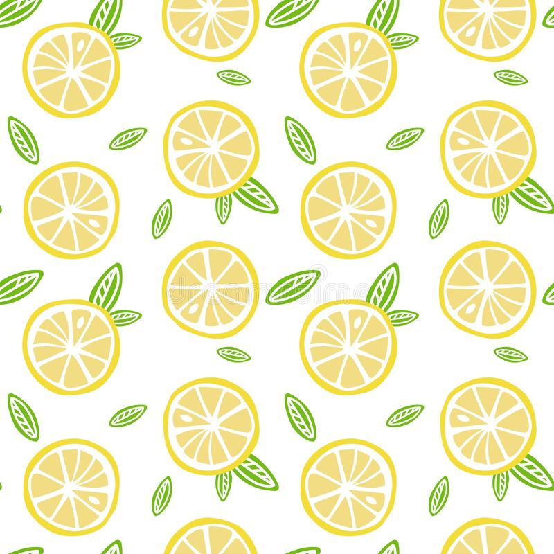 Fruit lemon with green leaves on a white background pattern seam. Less vector royalty free illustration