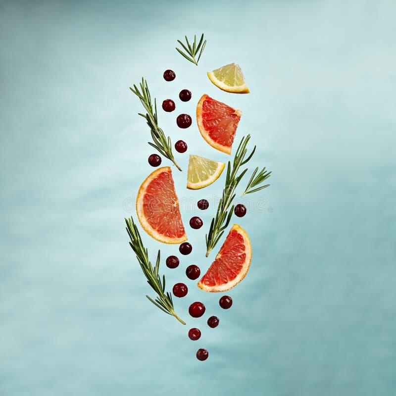 Fruit Lemonade Ingredient Pattern. Summer Food and Drink - Fruit Lemonade Ingredient Pattern made of Grapefruit, Lemon, Rosemary and Cranberry. Splash Shape with royalty free stock photos