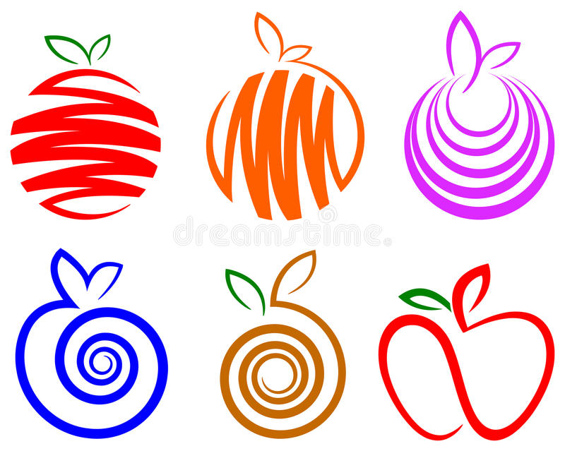 Fruit logo set royalty free illustration
