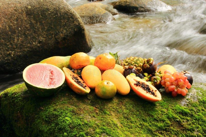 Fruit mélangé sur les roches photographie stock