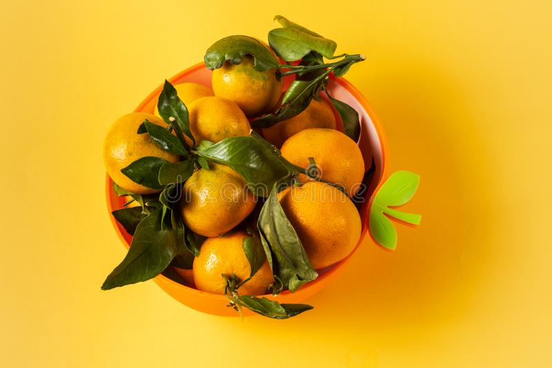 Fruit mûr de mandarines avec les feuilles vertes, dans une cuvette, dessus au-dessus de fond jaune images stock
