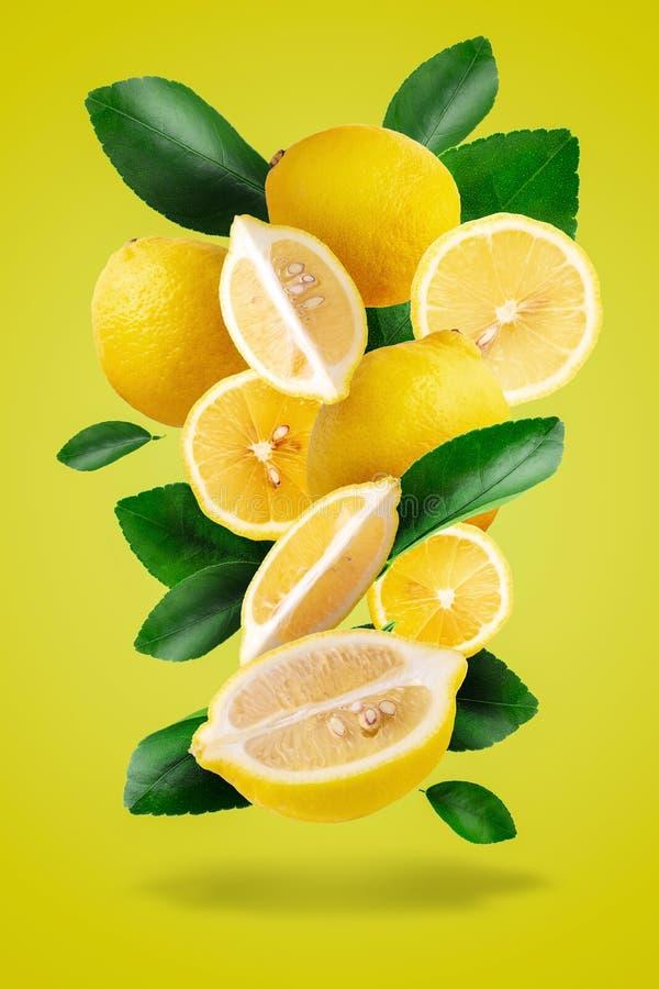 Fruit mûr et feuilles jaunes de citron d'isolement au-dessus d'un fond jaune photos libres de droits