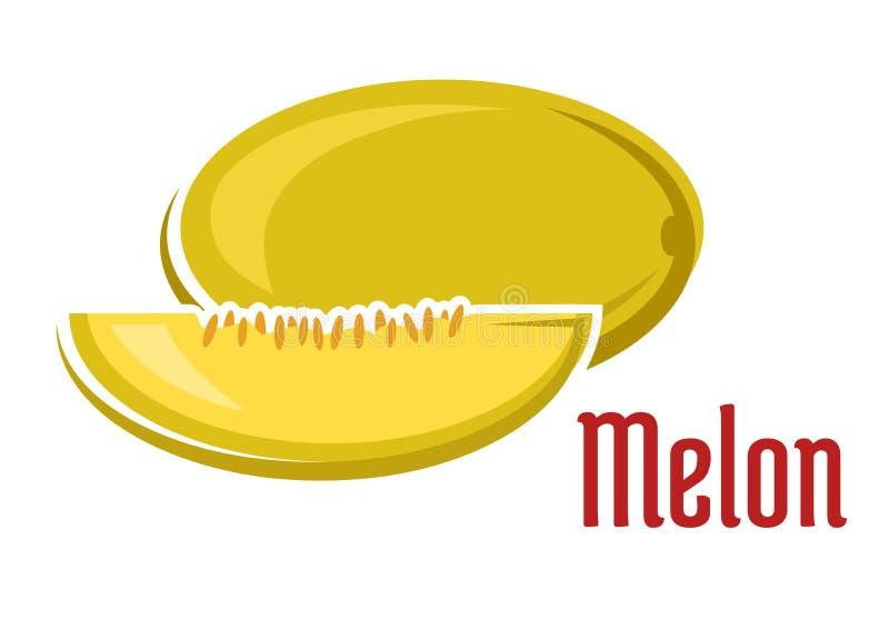 Fruit mûr de melon d'arome avec la tranche illustration de vecteur