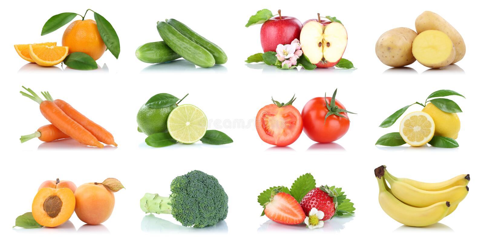 Fruit many fruits and vegetables collection isolated apple oranges banana tomatoes colors. On a white background stock photos
