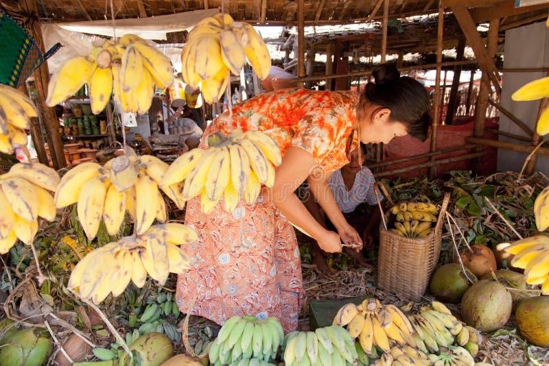 Fruit market, Bagan, Myanmar stock image