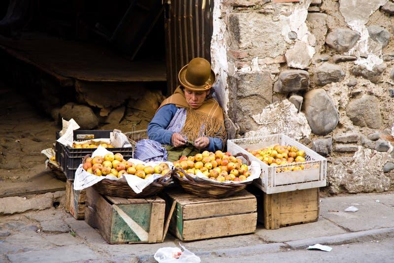 Fruit market, Bolivia royalty free stock image